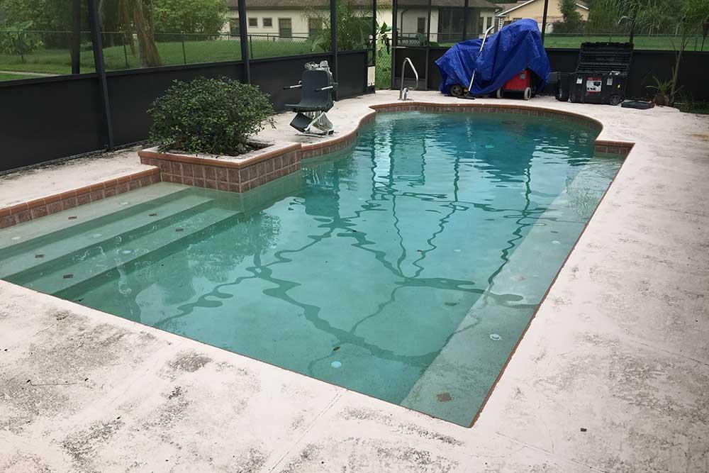 before pool deck resurfacing