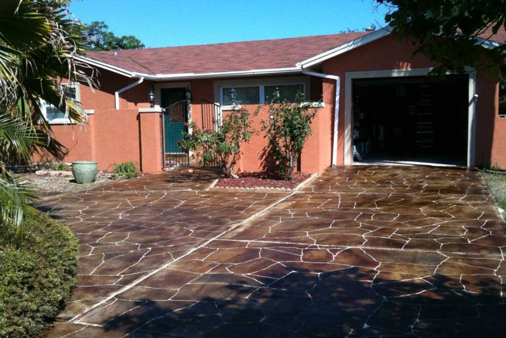 after stamped concrete driveway