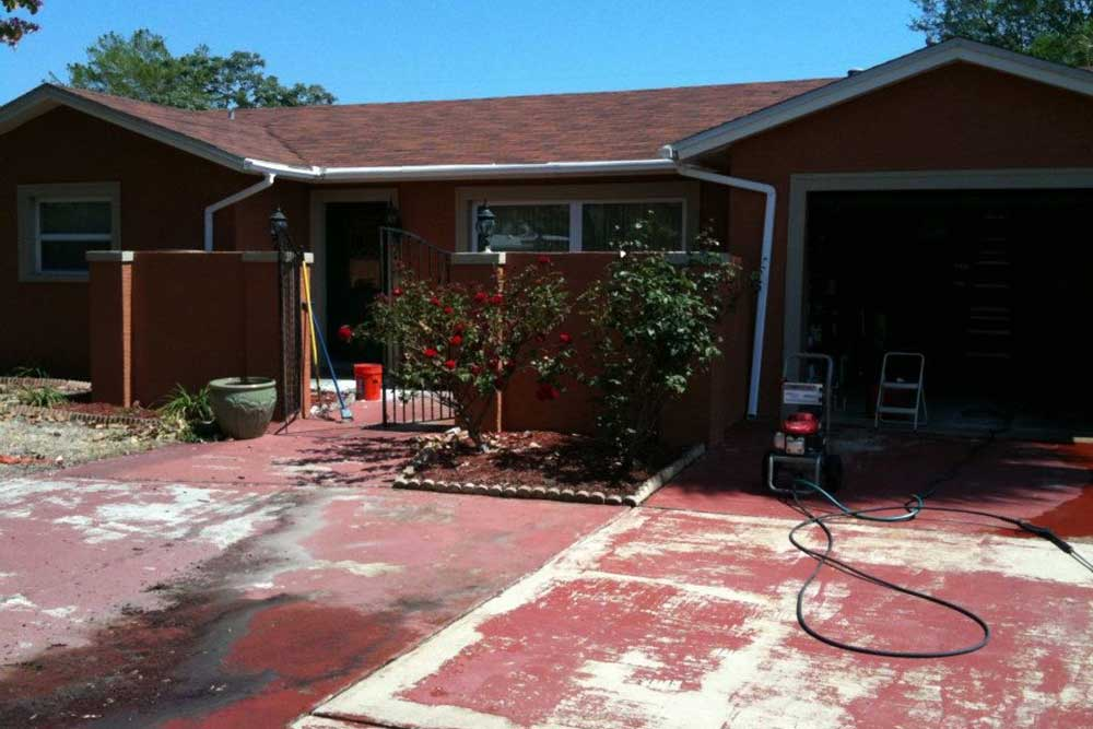 before stamped concrete driveway